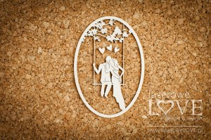 .Chipboard -  He and she on a swing - Wedding Day