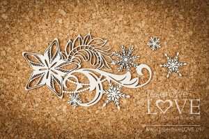 Chipboard - Star with ornaments - Shabby Winter