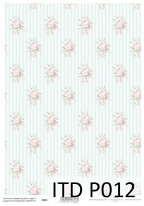 Pergamin do scrapbookingu - P012, Shabby chic, kwiaty - ITD Collection