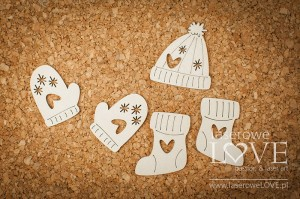 Chipboard - Gloves- Vintage Christmas