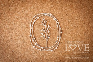 Chipboard - Oval frame with leaves and a plant - Soufre