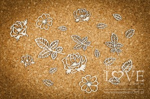Chipboard - Flowers and leaves - Vintage Trip