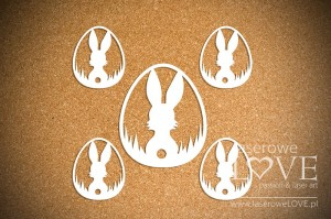 .Chipboard - Easter egg with rabbit hej ho! - Happy Easter