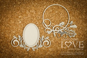 Chipboard - Oval frames with acorns - Hello Autumn
