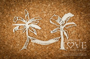 Chipboard - Palm trees with hammock - Vintage Tropical Island